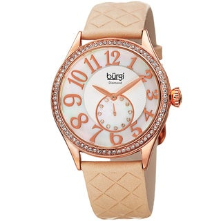 Burgi Women's Quartz Diamond Swarovski Crystal Leather Strap Watch - WHITE