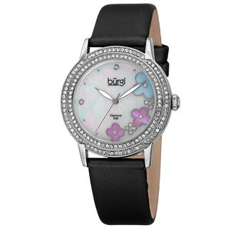 Burgi Women's Swiss Quartz Floral Swarovski Crystal Satin Silver-Tone Strap Watch