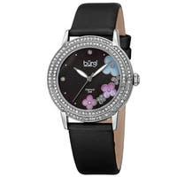 Burgi Women's Swiss Quartz Floral Swarovski Crystal Satin Silver-Tone Strap Watch - black
