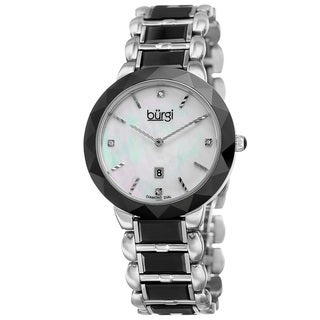 Burgi Women's Quartz Diamond Stainless Steel Black Bracelet Watch with FREE Bangle