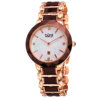 Burgi Women's Quartz Diamond Stainless Steel Brown Bracelet Watch