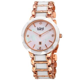 Burgi Women's Quartz Diamond Stainless Steel White Bracelet Watch