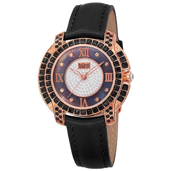 Burgi Women's Quartz Square-Cut Swarovski Crystals Leather Strap Watch