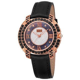 Burgi Women's Quartz Square-Cut Swarovski Crystals Leather Black Strap Watch