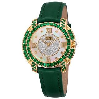 Burgi Women's Quartz Square-Cut Swarovski Crystal Elements Leather Green Strap Watch