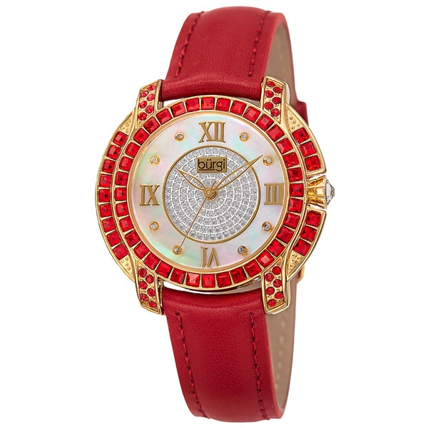 Burgi Women's Quartz Square-Cut Swarovski Crystals Leather Red Strap Watch