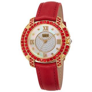 Burgi Women's Quartz Square-Cut Swarovski Crystals Leather Red Strap Watch