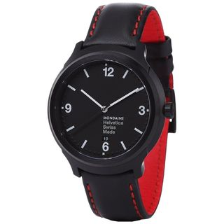 Mondaine Men's MH1B1221LB 'Helvetica No. 1 Bold' Black Leather Watch
