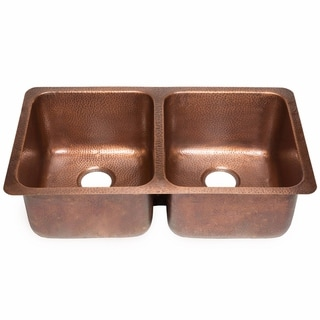Sinkology Rivera Luxury Series Antique Copper Undermount Solid Copper  Double Bowl Kitchen Sink