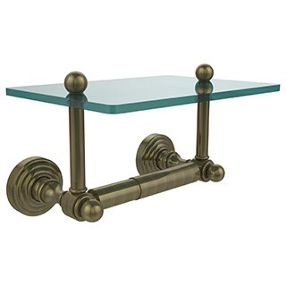 Allied Brass Waverly Place Two Post Toilet Tissue Holder with Glass Shelf