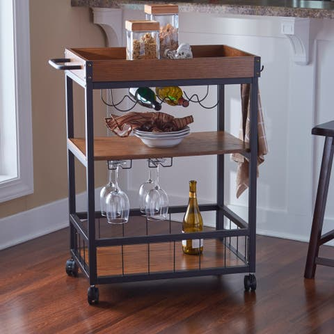 Carbon Loft Wheeler Kitchen/ Wine Cart