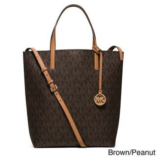 Michael Kors Large Hayley Convertible Signature Leather Shoulder Tote Bag