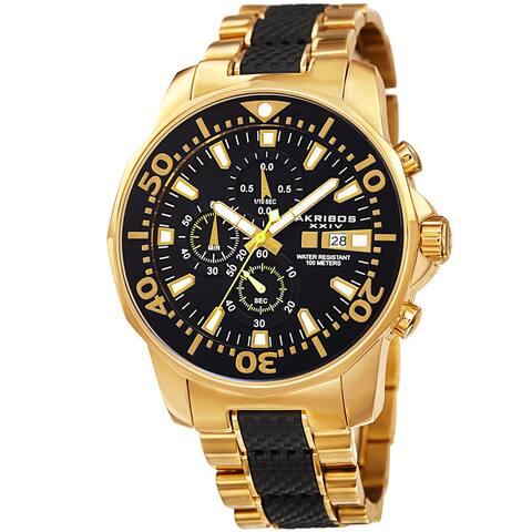 Akribos XXIV Men's Bold Chronograph Two-Tone Stainless Steel Gold-Tone Bracelet Watch - Gold