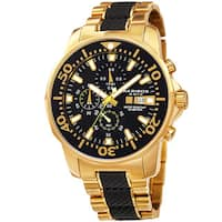 Akribos XXIV Men's Bold Chronograph Two-Tone Stainless Steel Gold-Tone Bracelet Watch - Gold