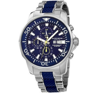 Akribos XXIV Men's Bold Chronograph Two-Tone Stainless Steel Blue Bracelet Watch