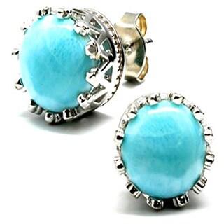 Blue Larimar Princess Stud Earrings