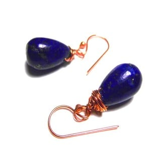 Blue Lapis Lazuli Solid Copper Wrapped Earrings