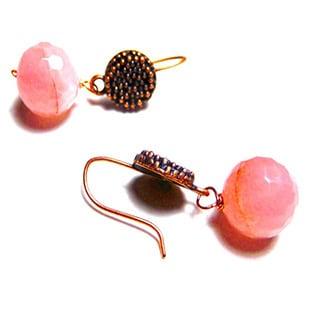 Rose Quartz Solid Copper Hook Drop Earrings