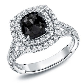 Auriya 18k White Gold 2 1/2ct TDW Cushion-Cut Black Diamond Halo Engagement Ring (Black, SI1-SI2)