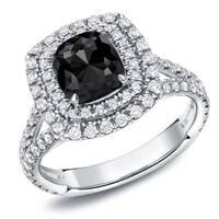 Auriya 18k White Gold 2 1/2ct TDW Cushion-Cut Black Diamond Halo Engagement Ring (Black)