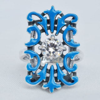 Silverplated 'Lime' Ring with Blue Enamel and a Crystal