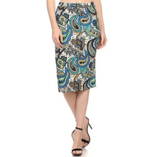 MOA Collection Women's Paisley Print Pencil Skirt