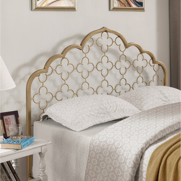Moroccan Quatrefoil Brushed Gold Queen-size Headboard