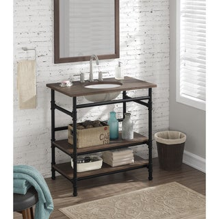 36 inch industrial open shelf vanity