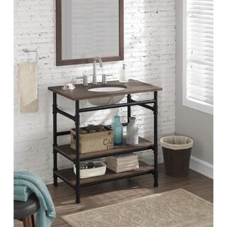36 Inch Industrial Open Shelf Vanity