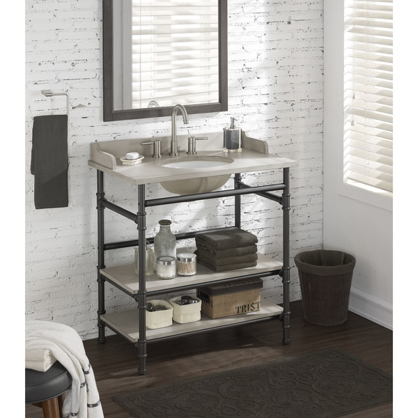 Industrial Vanity: Shop 36-inch Industrial Open Shelf Vanity With Backsplash