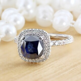 Auriya 18k White Gold 2ct Blue Sapphire and 1ct TDW Diamond Double Halo Ring (H-I, SI1-SI2)