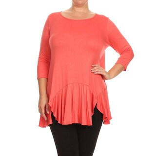 MOA Collection Women's Plus Size Solid 3/4 Top