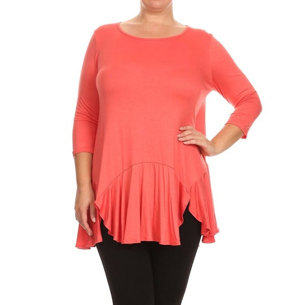 acacb472ffc Shop MOA Collection Women s Plus Size Solid 3 4 Top - Free Shipping ...