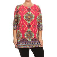 MOA Collection Women's Plus Size Pattern Print Tunic