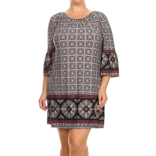 MOA Collection Women's Plus Size Kimono Sleeve Short Dress