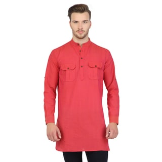 Handmade Shatranj Men's Pink Indian Mid-Length Kurta Tunic Banded Collar Two Pocket Shirt (India)