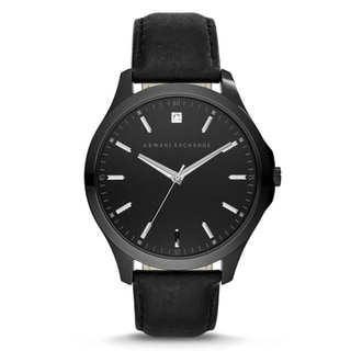 Armani Exchange Men's AX2171 'Hampton' Black Leather Watch