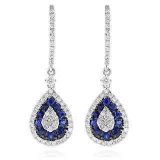 Luxurman 14k White Gold Blue Sapphire and 1ct TDW White Diamond Drop Earrings (G-H, VS-SI )