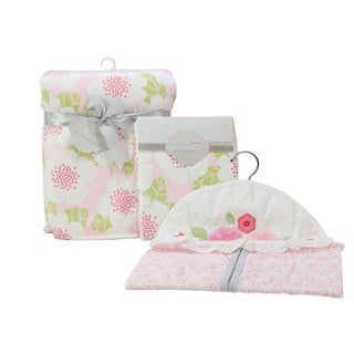Nurture Garden District Nursery Plush Blanket, Changing Pad Cover and Diaper Stacker Set