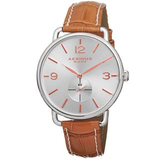 Akribos XXIV Women's Slim Sunray Dial Genuine Leather Strap Watch with FREE GIFT - Brown|https://ak1.ostkcdn.com/images/products/11193278/P18184132.jpg?impolicy=medium