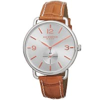 Akribos XXIV Women's Slim Sunray Dial Genuine Leather Strap Watch with FREE Bangle - brown