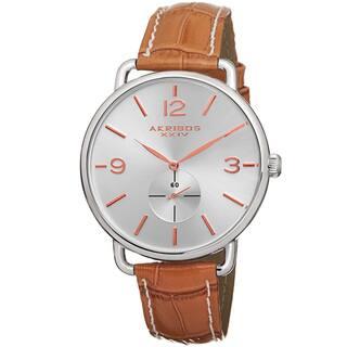 Akribos XXIV Women's Slim Sunray Dial Genuine Leather Strap Watch - brown