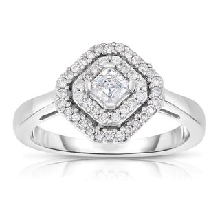 Eloquence 14k White Gold 1/2ct TDW Diamond Halo Ring