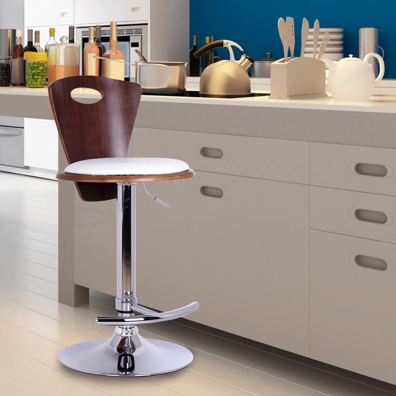 Adeco White PU/ Plywood Adjustable Barstool (White) (Leat...