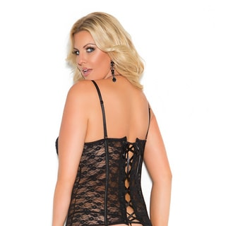 Elegant Moments Women's Plus Size Lace Up Back Lace Bustier