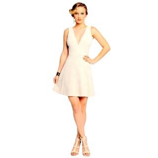 Sara Boo Women's Off-White Deep V-Neck Mesh Back Dress