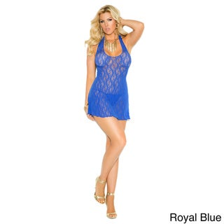 Elegant Moments Women's Plus Size Lace Halter Mini Dress