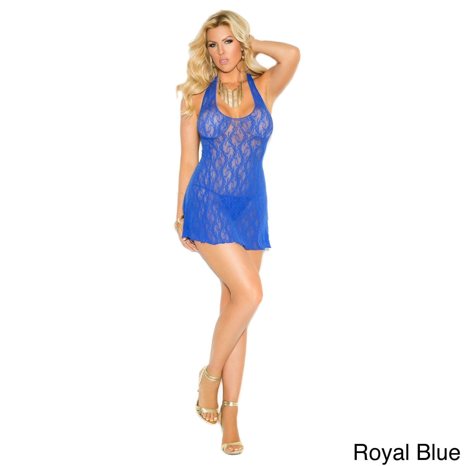 Elegant Moments Women's Plus Size Lace Halter Mini Dress ...