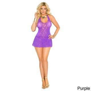 Elegant Moments Women's Plus Size Lace Halter Mini Dress in Queen Size. (Option: Purple)