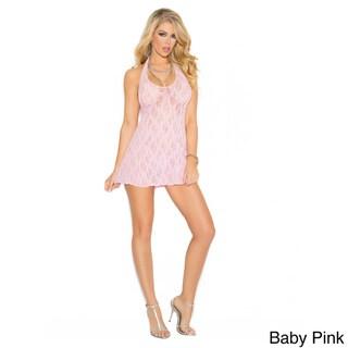 Elegant Moments Women's Lace Halter Mini Dress